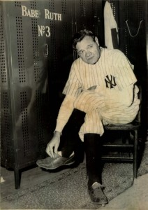 Babe Ruth June 13, 1948 in Yankee locker room