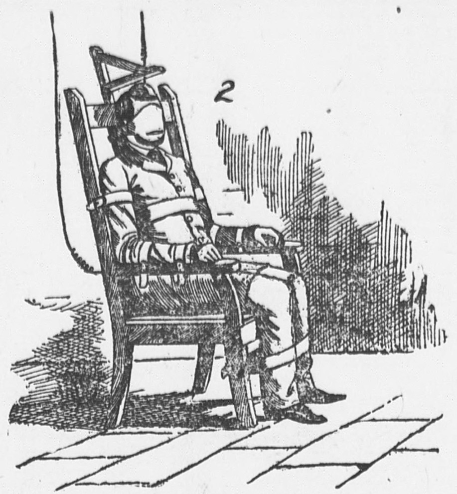 First electric chair victim - Kemmler Strapped In The Electric Chair New York Evening World
