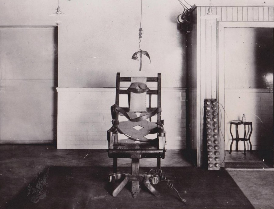 The original and first electric chair that was used to execute a prisoner on August 6, 1890 in Auburn, NY