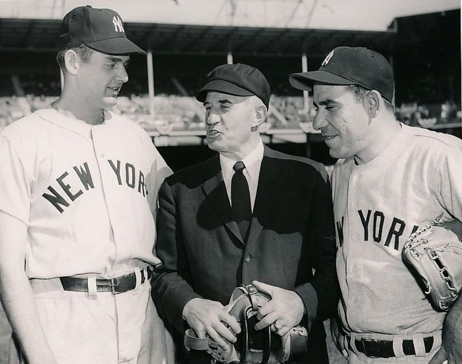 Don Larsen Yogi Berra Ralph Babe Pinelli day after perfect game 1956 10 9 WS World Teleg Sun ph Wm C Greene