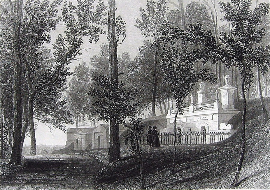 Greenwood Cemetery Bayside Ave.Fern Hill Mausoleums print published 1855