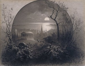 Night View From Green-Wood Cemetery 1881 by Rudolph Cronau print Brooklyn Museum