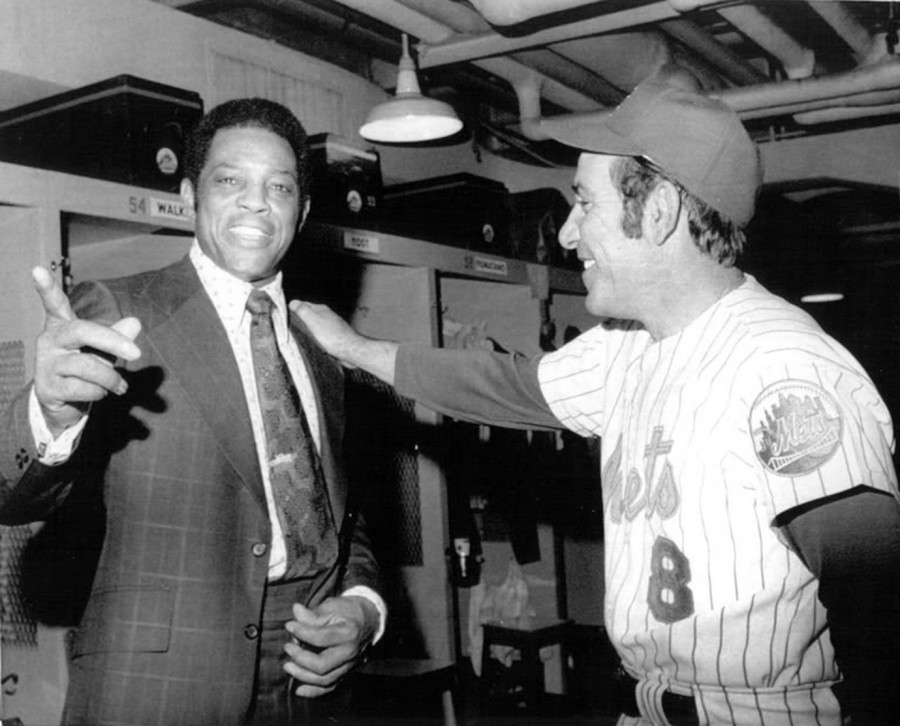 Willie Mays Yogi Berra Mets May 1973
