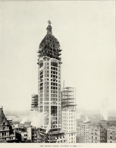 Singer Building Tower Under Construction History of Singer Building 1908