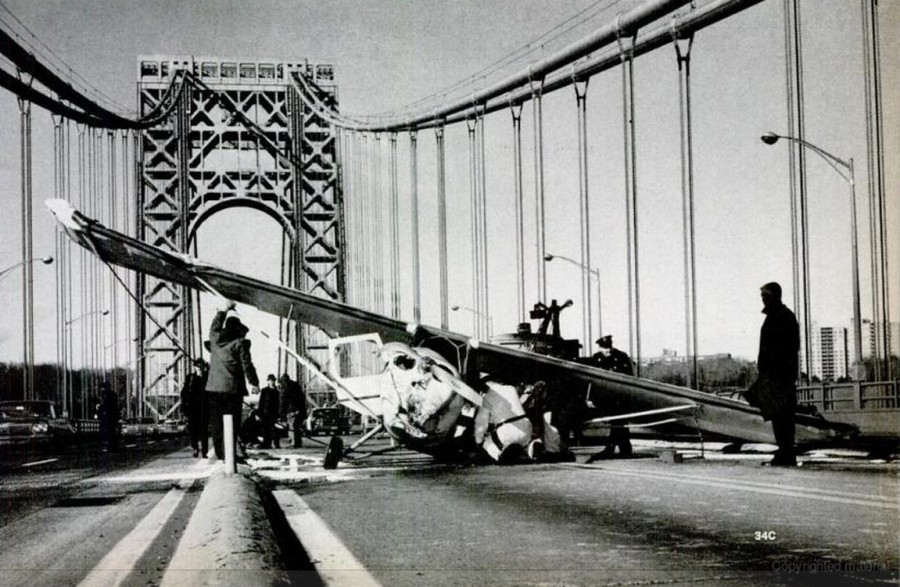 Philip Ippolito and passenger Joseph Brennan Jr. walked away from this emergency plane landing on the George Washington Bridge December 26, 1965. photo: Life Magazine