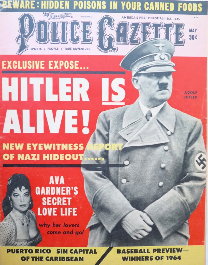National Police Gazette cover May 1964, One of many times Hitler was featured on the Gazette cover