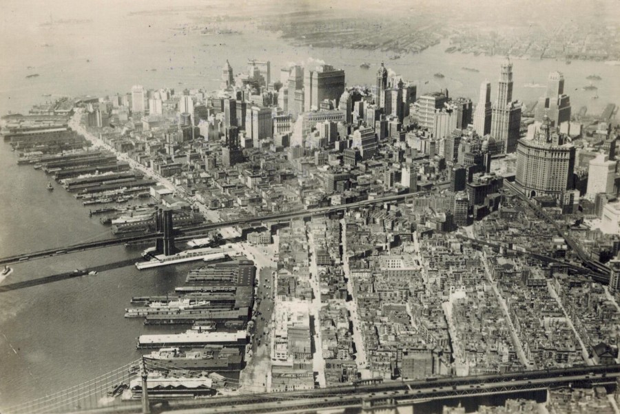 Lower Manhattan from airplane looking south 1934
