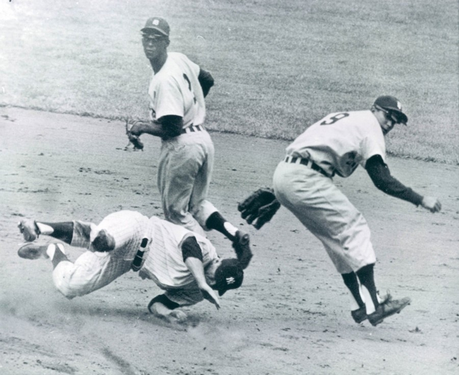 Mickey Mantle Breaking up double play May 13 1961