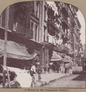 New York tenement district stereoview - circa 1895