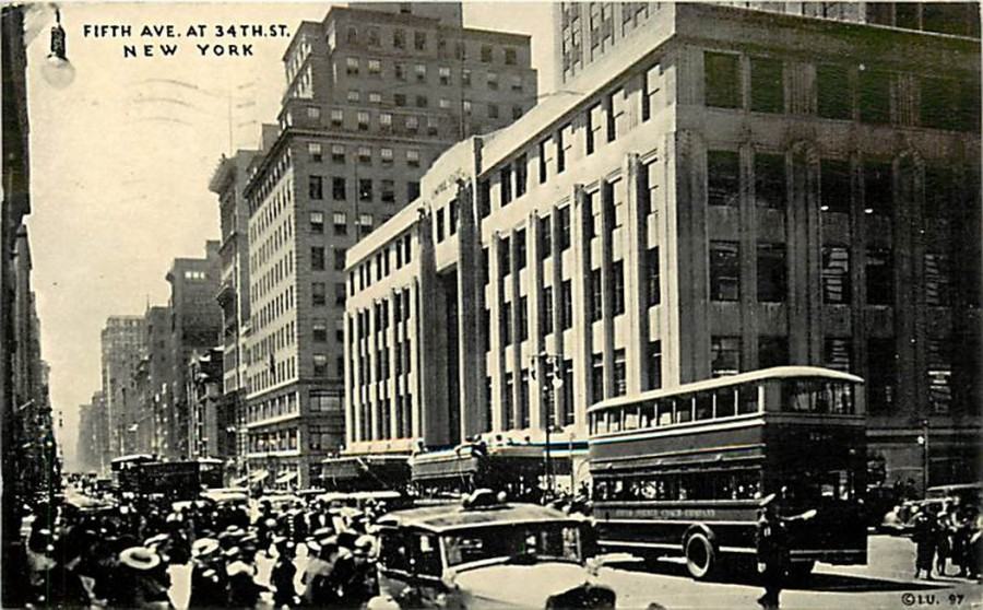 postcard Fifth Ave 34th St 1936
