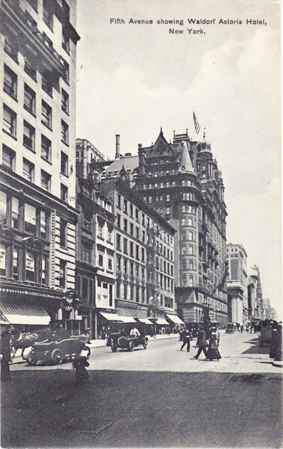 postcard Fifth Ave from 32nd St Waldorf Astoria