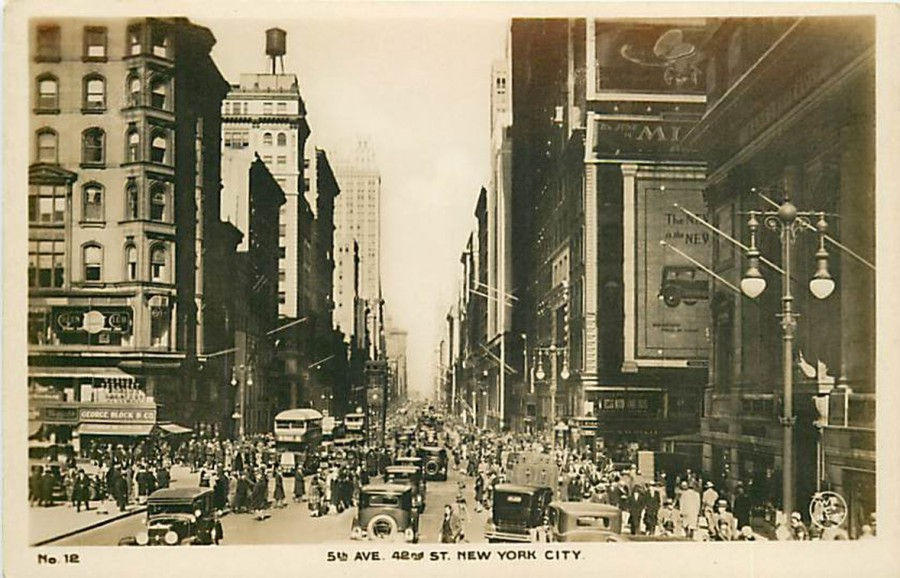 postcard Fifth Ave looking north from 42nd St Wm Frange