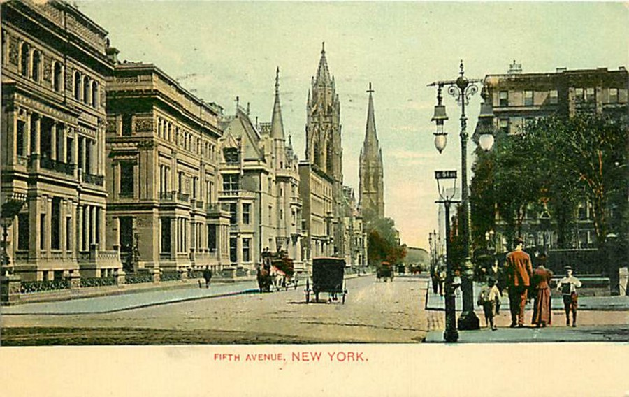 postcard Fifth Ave looking south 51st St