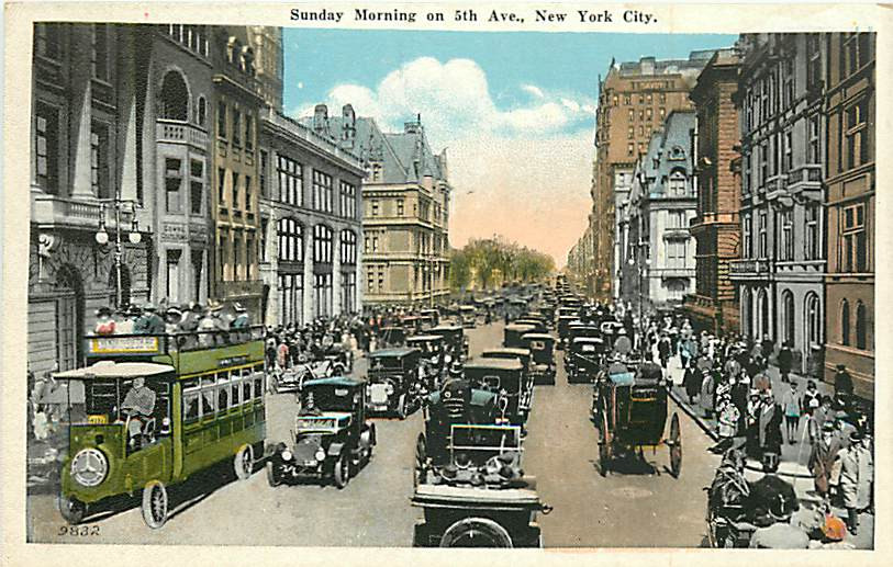 postcard Fifth Ave on Sunday morning 1920