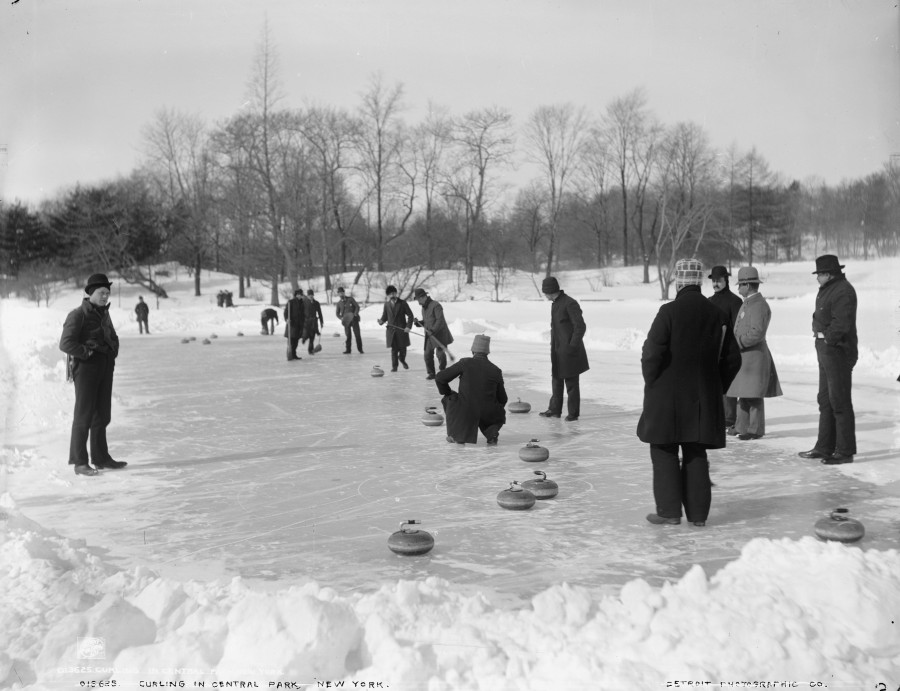 Circa 1905 Curling in Central Park photo Detroit Publishing