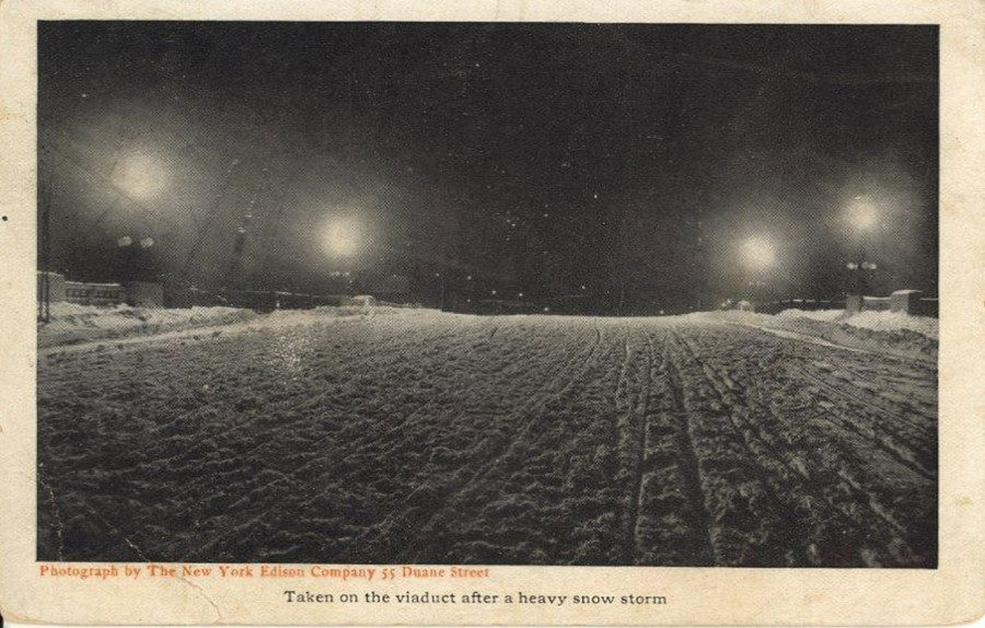 1908 Snow at night on Riverside Drive Viaduct photo NY Edison Co.