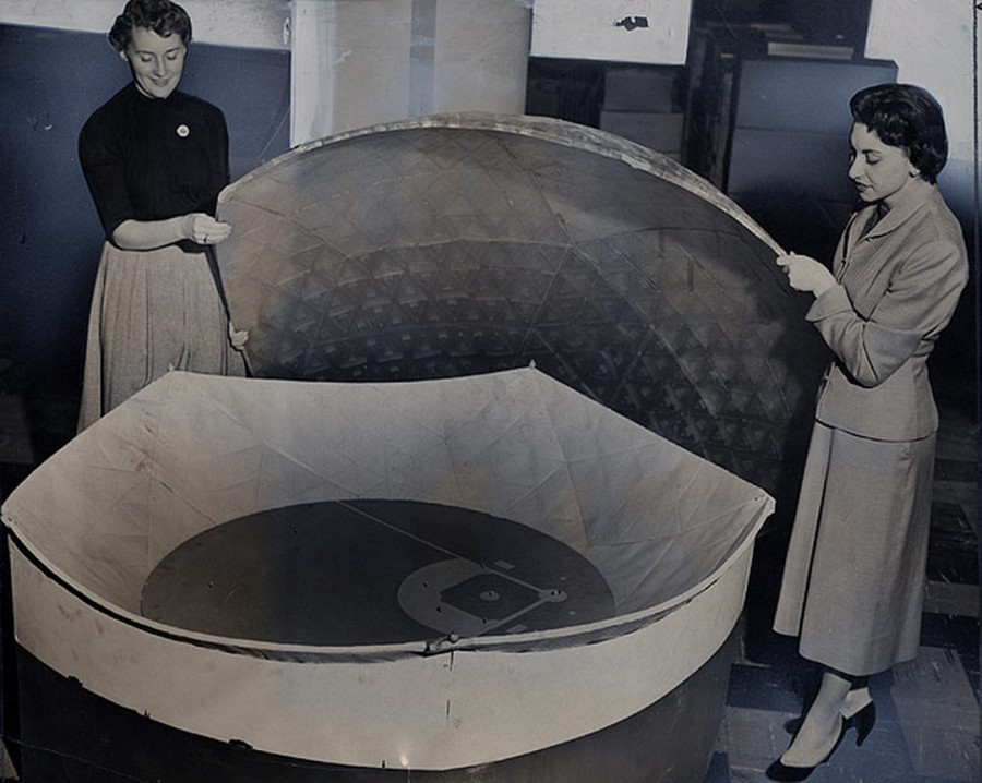 Model of the proposed domed all-weather sports stadium planned to house the Brooklyn Dodgers is unveiled at the Dodger offices. photo Bob Laird February 6 1956