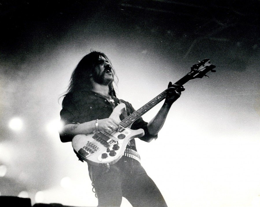 Lemmy of Motörhead on stage at Vale Park 3/8/1981
