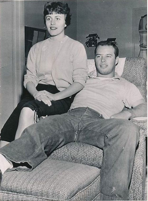 Eddie Mathews and wife Dec 4 1954