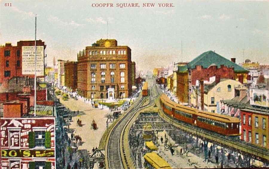 Third Avenue Elevated at Cooper Square. Cooper Union which is still extant, is the large building to the left of the tracks.