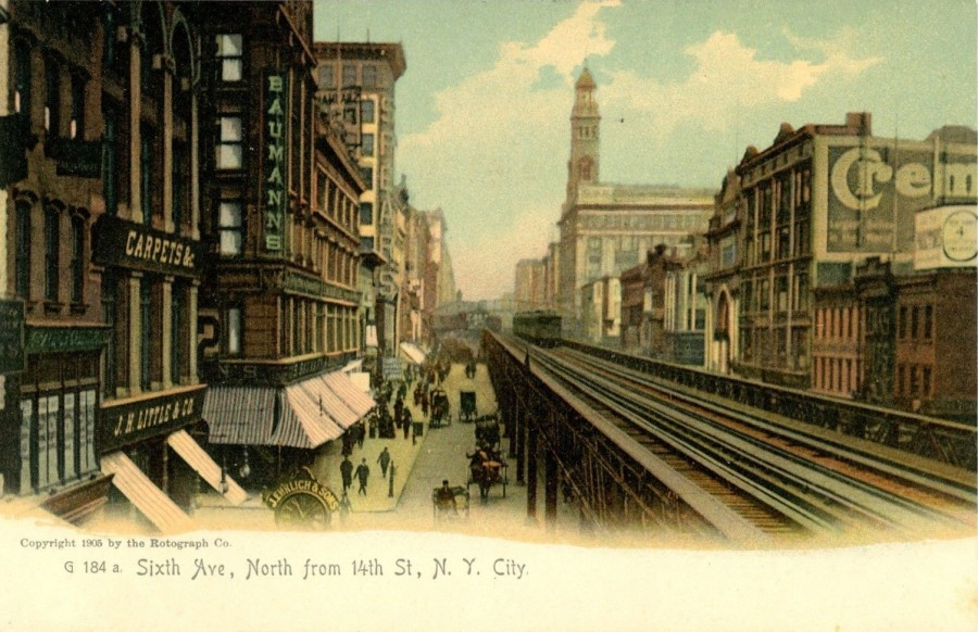 "The Sixth Avenue Elevated seen looking north from 14th Street. At the turn-of-the-century Sixth Avenue was a main shopping district of New York called ""Ladies Mile. The building with the tower on the right is Siegel Cooper department store, Department Store."