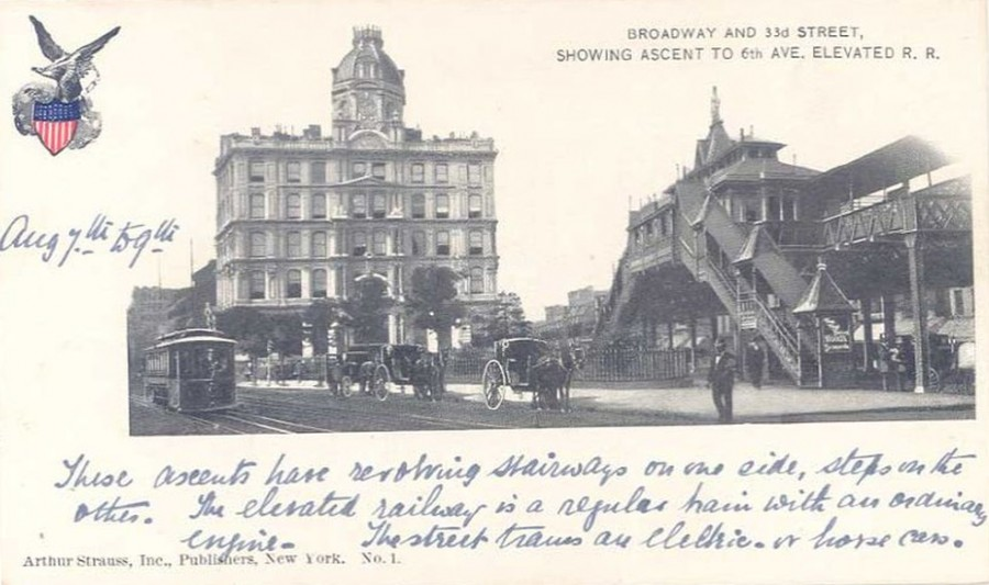 Sixth Avenue Elevated station looking south from 34th Street ath the intersection of Sixth Avenue and Broadway. The building with the dome at the southern end of Herald Square is the Union Dime Savings Bank.