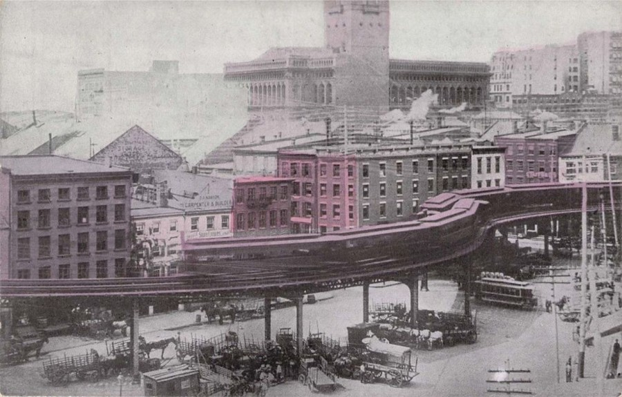 Elevated train at Coenties Slip.