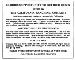 Get Rich Quick fake Ad American magazine 1920