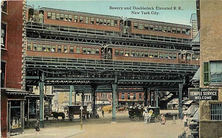 The double deck elevated at the Bowery.