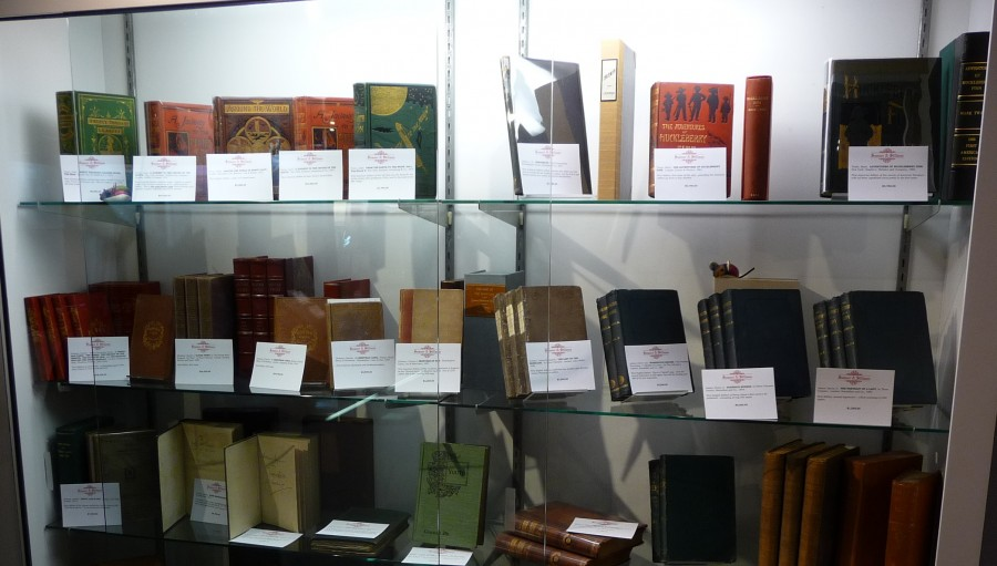 The display case of Sumner & Stillman Yarmouth, ME. One of the 200+ exhibitors at The New York ABAA Book Fair