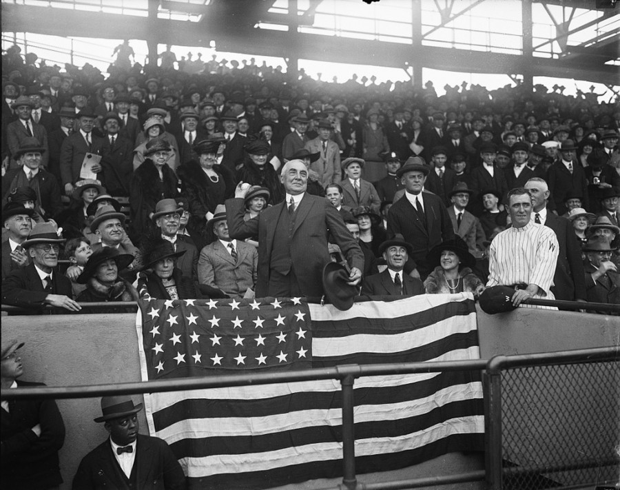 President Harding first pitch 2 photo loc