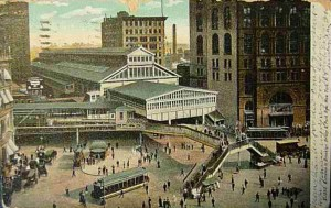 Postcard Brooklyn Bridge transportation terminal hub on Park Row c. 1905