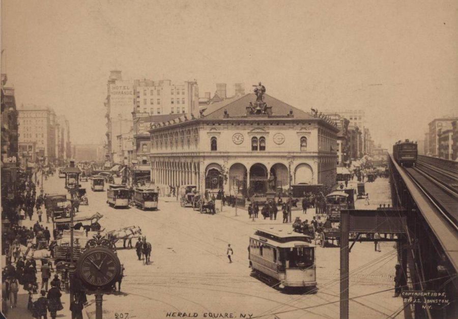 Herald Square Herald Building elevated 34th Street 1895 photo JS Johnston