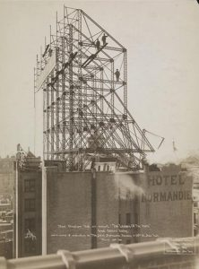Hotel Normandie Chariot Race Sign frame and truss photo: Byron Co. via MCNY collection