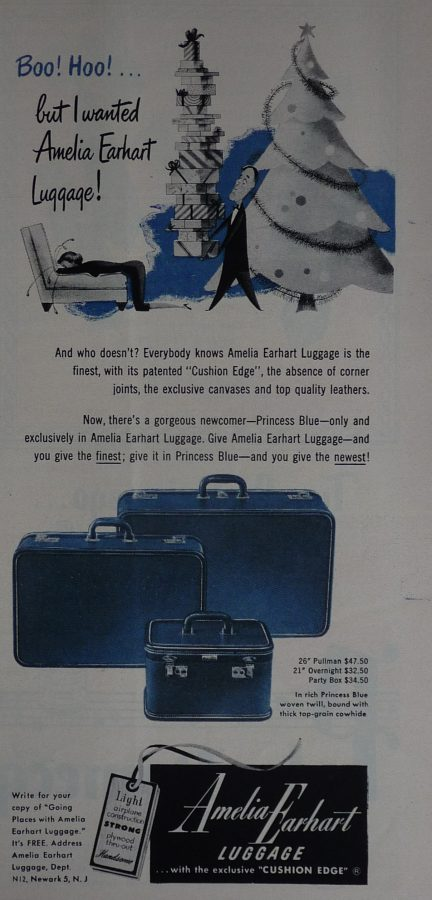 New Yorker 1949 Amelia Earhart luggage ad