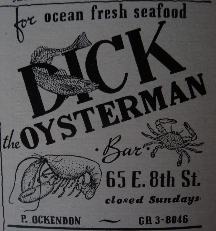New Yorker 1949 Dick the Oysterman Restaurant ad