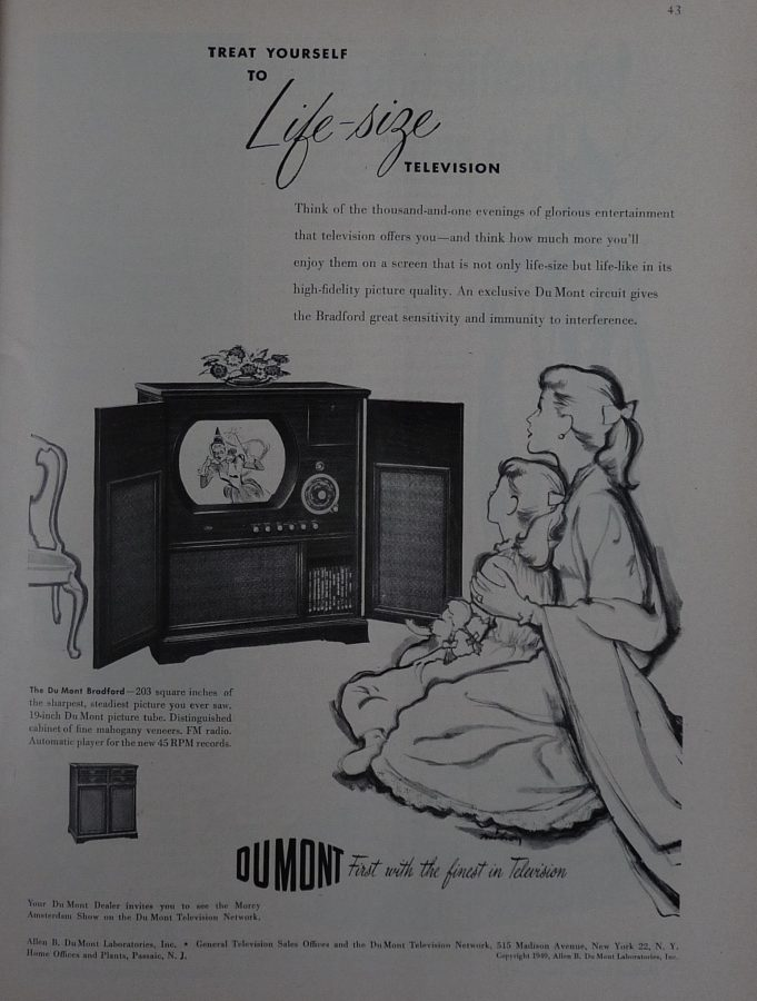 New Yorker 1949 Dumont Television Life Size ad
