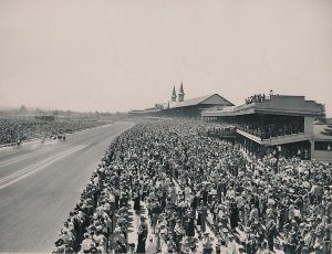 Churchill Downs is packed awaiting the 75th running of the Kentucky Derby. Here the fans watch the running of the 2nd race, in a prelude to the big race. May 7, 1949 photo: Associated Press