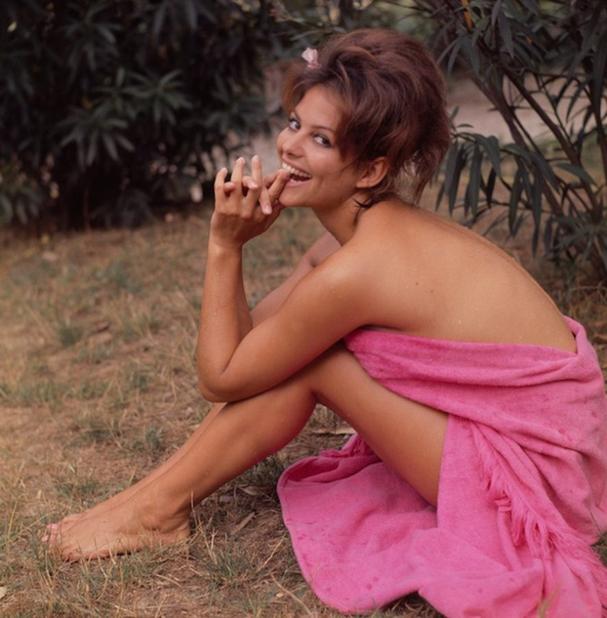 Claudia Cardinale with towel