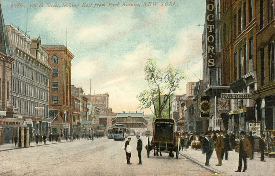 postcard 125th Street East from Park Avenue c 1908