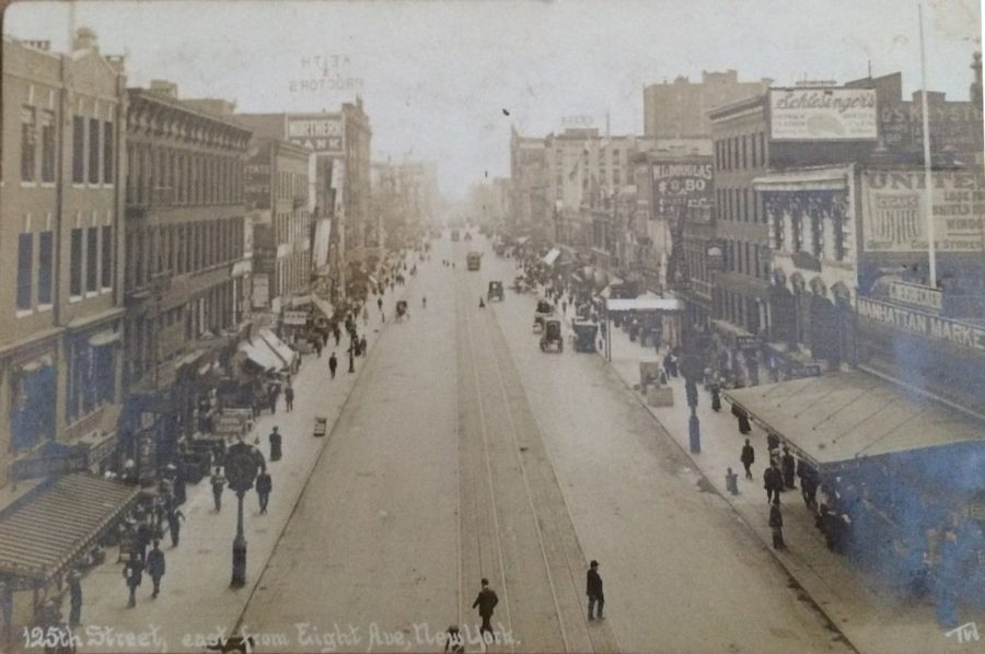 125th Street looking east from 8th Avenue from a real photo postcard published by Thadeus Wilkerson circa 1910.