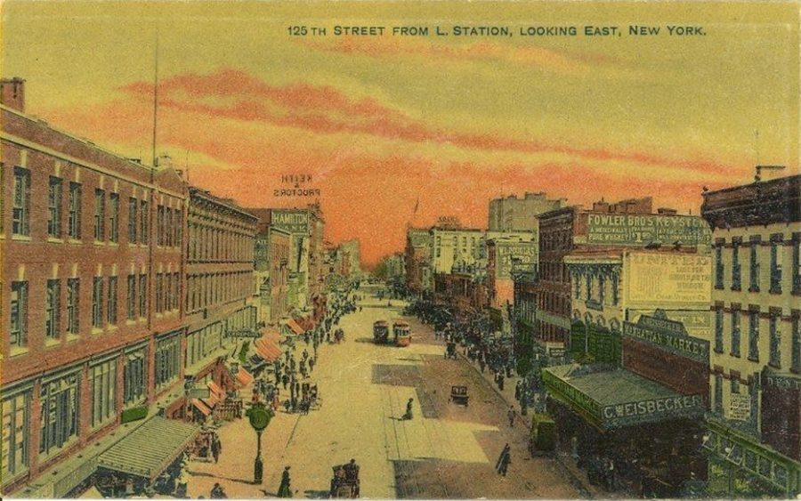 A dreamy view of 125th Street looking east from the elevated station circa 1910