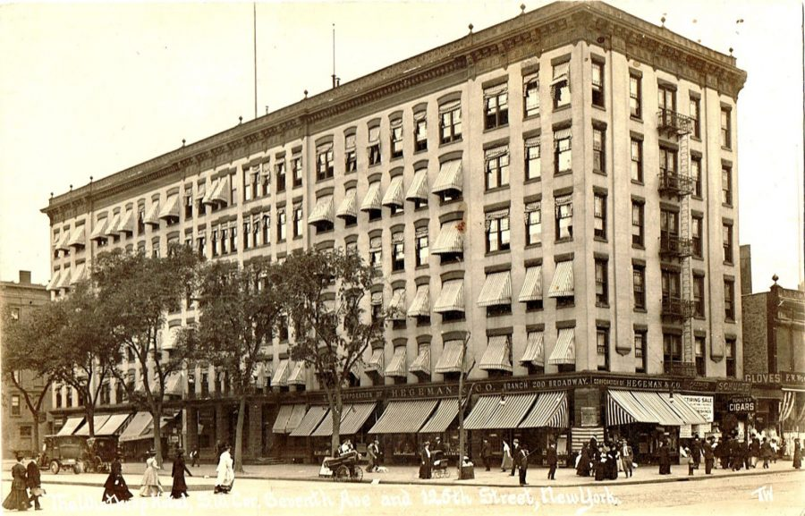 The Winthrop Hotel on the southwest corner of 7th Avenue (Adam Clayton Powell Jr.Blvd) and 125th Street. The Winthrop was replaced in 1913 by The Hotel Theresa, Harlem's most famous hotel.