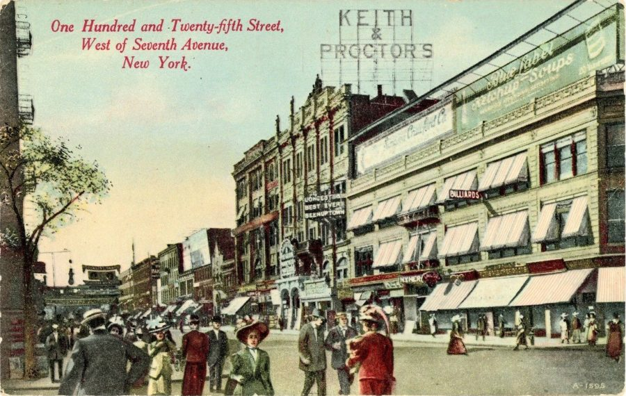 Another view of 125th Street west of 7th Avenue (now Adam Clayton Powell Jr. Blvd.). Keith & Proctor's sign sits atop the vaudeville theater which was formerly The Harlem Opera House circa 1910.