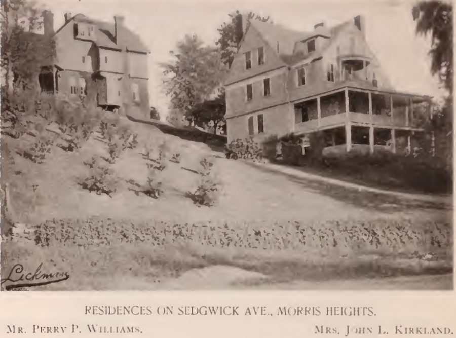 Perry Williams and Mrs. John Kirkland residences Sedgwick Avenue Morris Heights Bronx 1897