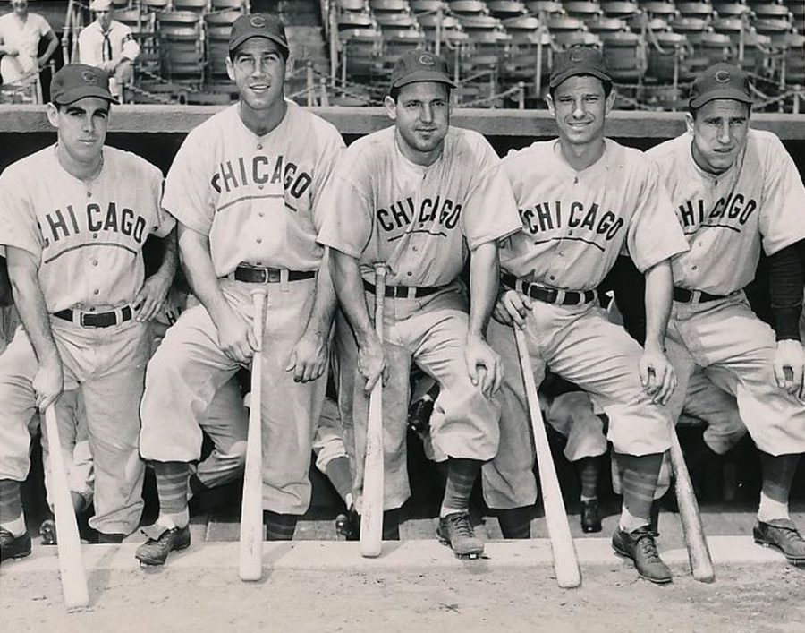 1945 Cubs Sluggers: Lowery, Secory, Nicholson, Pafko and Sauer photo: William Greene
