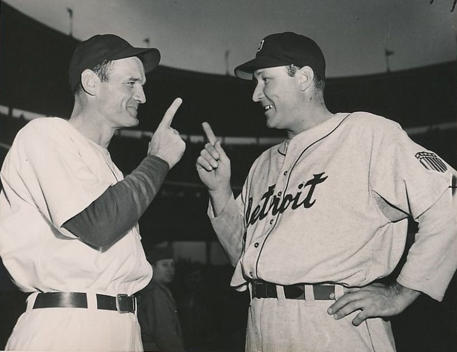 Claude Passeau and Rudy York before game 1 1945 World Series photo: International News