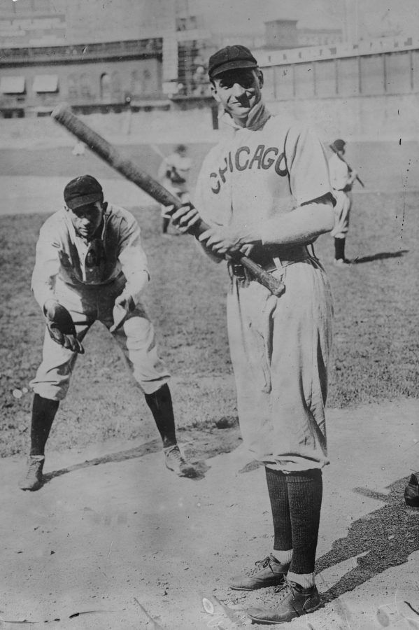 Solly Hofman Utility Man batting-Jack Pfiester, Pitcher catching 1908 Chicago Cubs