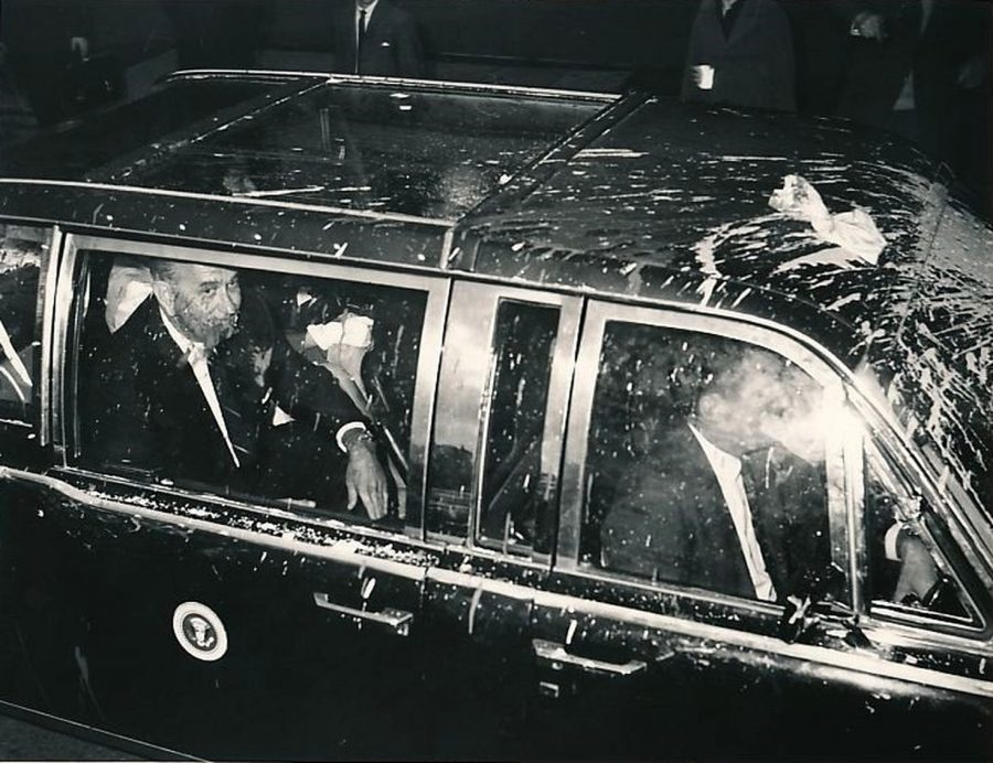 President Lyndon Johnson in Melbourne Australia October 21, 1966 after his limousine was attacked by paint. photo: Herald Sun
