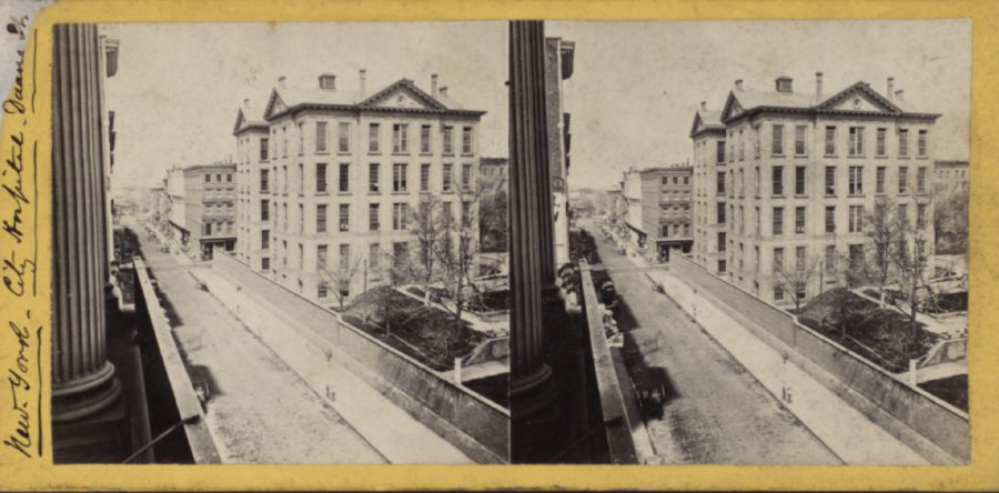 New York (City) Hospital Broadway stereoview from NYPL